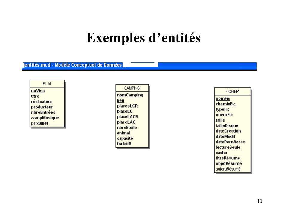 Exemples d'entités