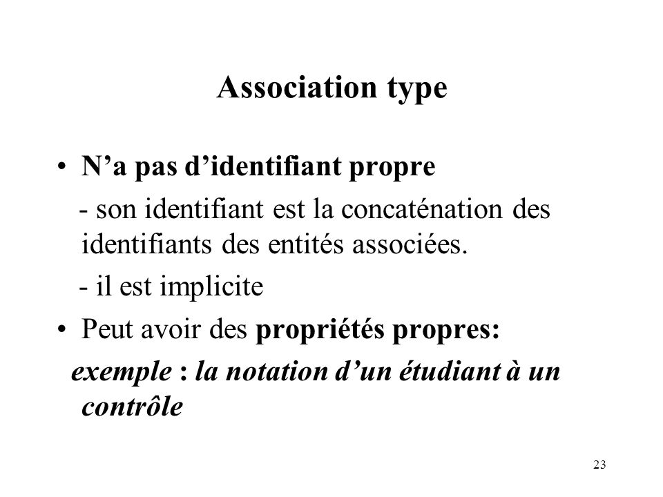 Association type N'a pas d'identifiant propre