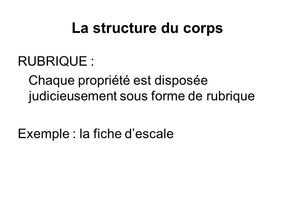 La structure du corps RUBRIQUE :