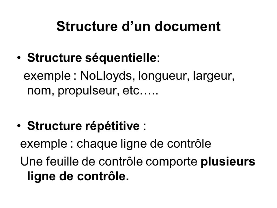 Structure d'un document