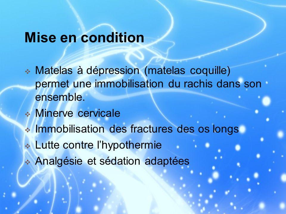 Mise en condition Matelas à dépression (matelas coquille) permet une immobilisation du rachis dans son ensemble.