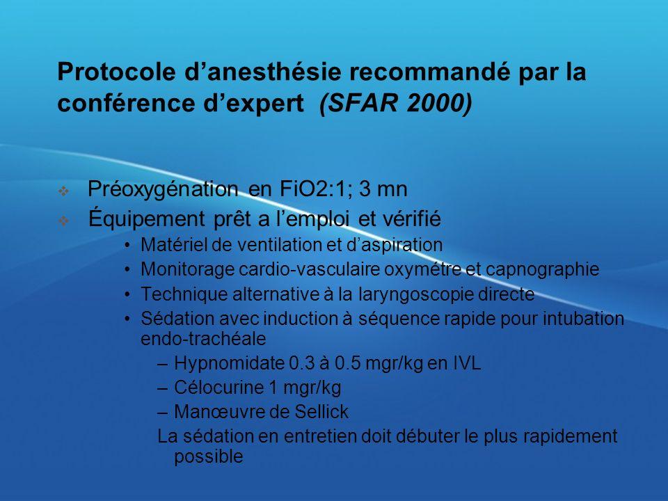 Protocole d'anesthésie recommandé par la conférence d'expert (SFAR 2000)