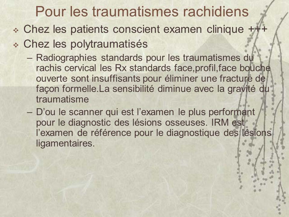 Pour les traumatismes rachidiens