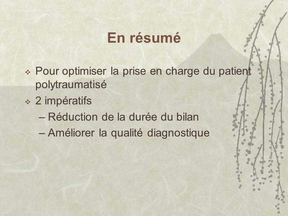 En résumé Pour optimiser la prise en charge du patient polytraumatisé