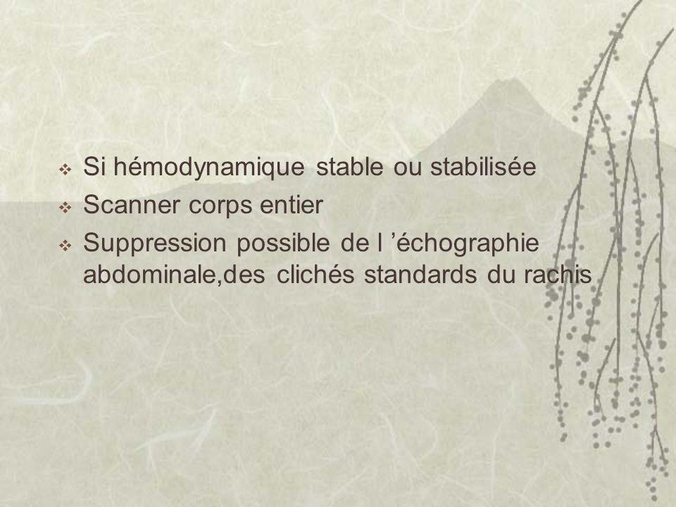 Si hémodynamique stable ou stabilisée