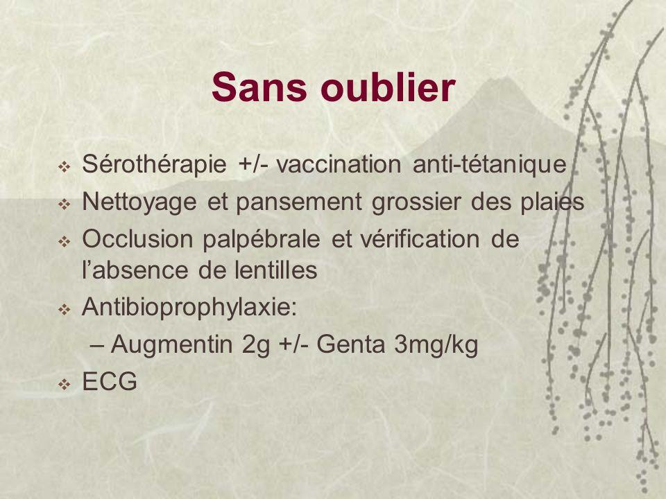 Sans oublier Sérothérapie +/- vaccination anti-tétanique