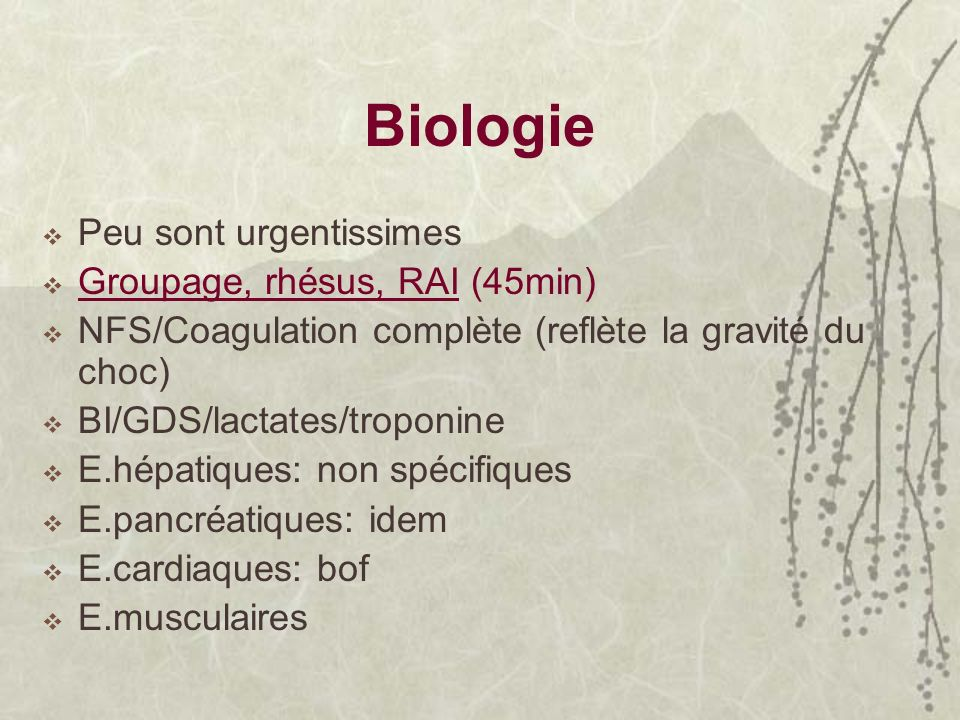 Biologie Peu sont urgentissimes Groupage, rhésus, RAI (45min)