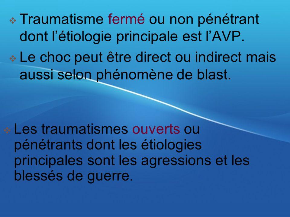 Traumatisme fermé ou non pénétrant dont l'étiologie principale est l'AVP.