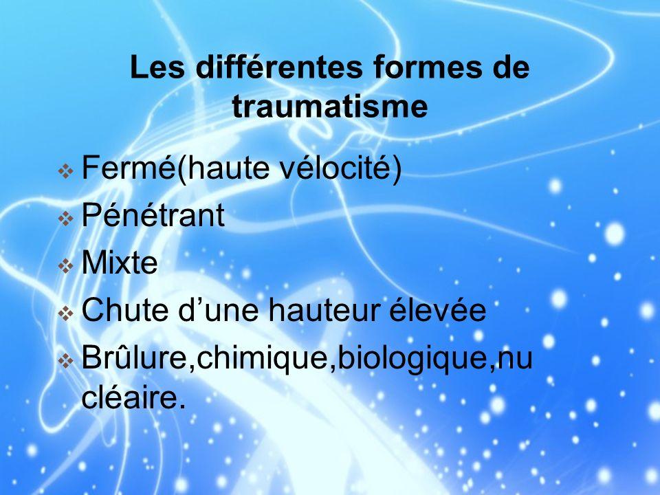 Les différentes formes de traumatisme