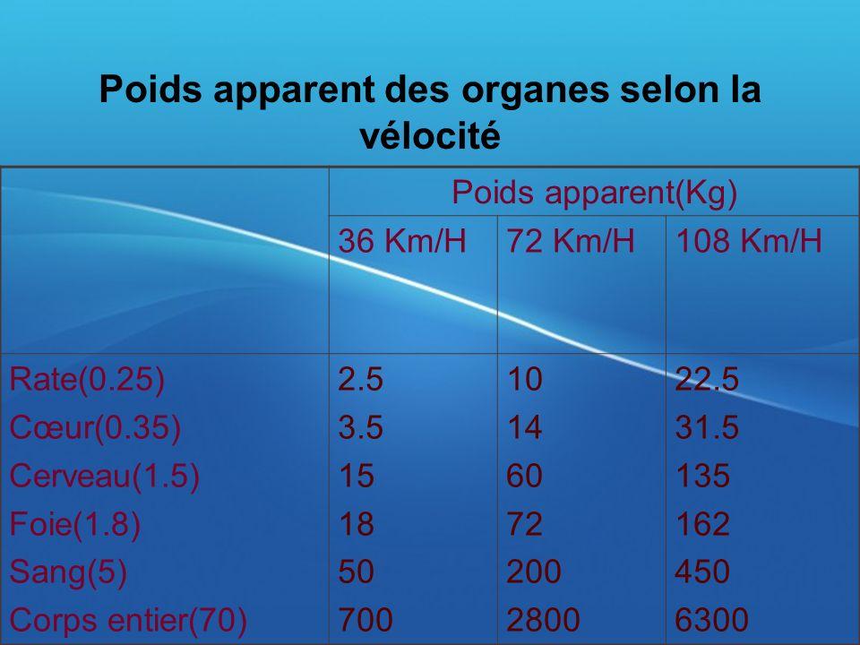 Poids apparent des organes selon la vélocité
