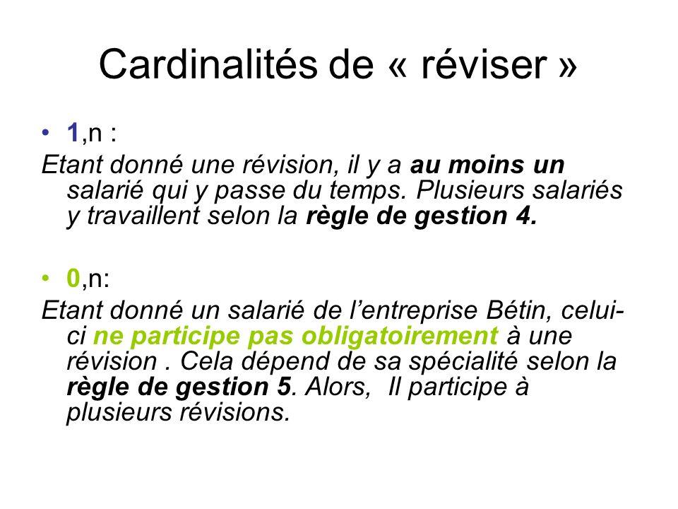 Cardinalités de « réviser »
