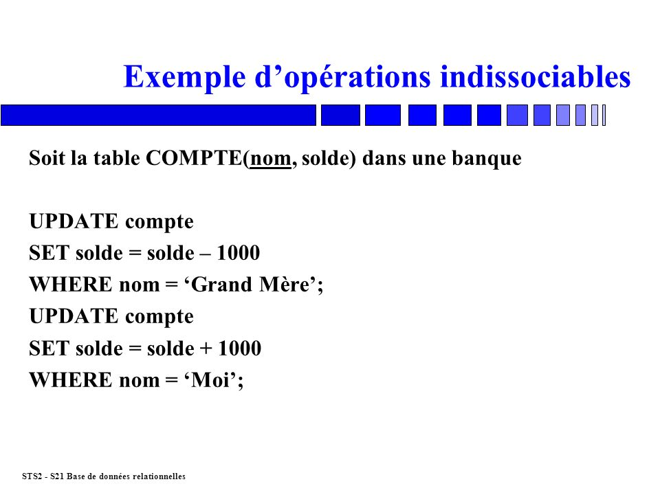 Exemple d'opérations indissociables