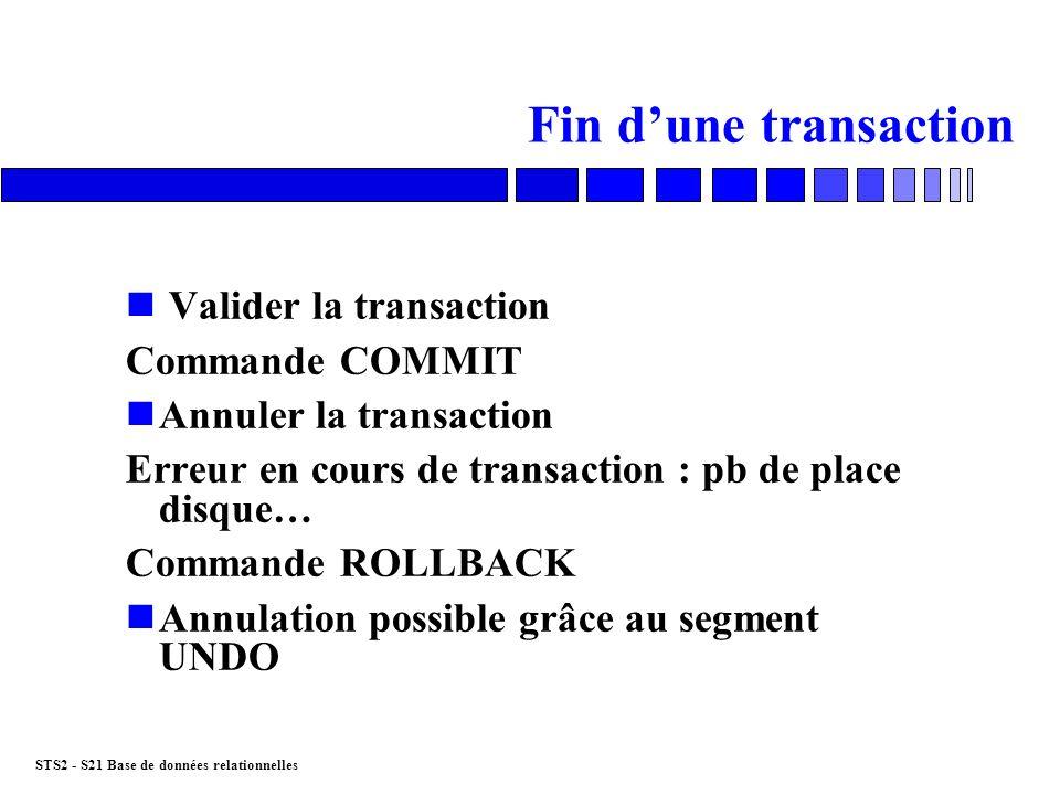 Fin d'une transaction Valider la transaction Commande COMMIT