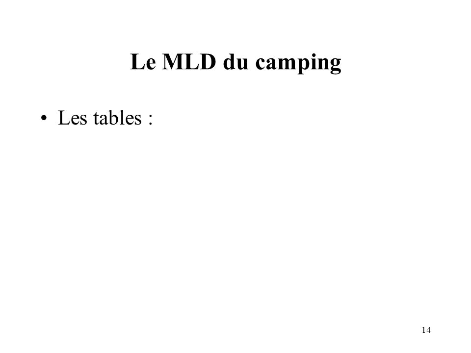 Le MLD du camping Les tables :