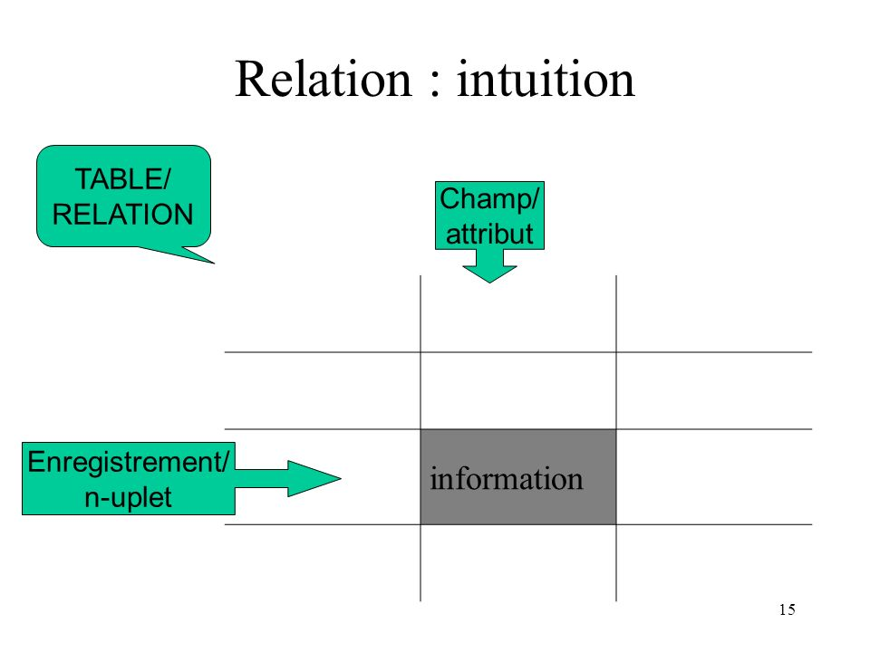Relation : intuition information TABLE/ RELATION Champ/ attribut