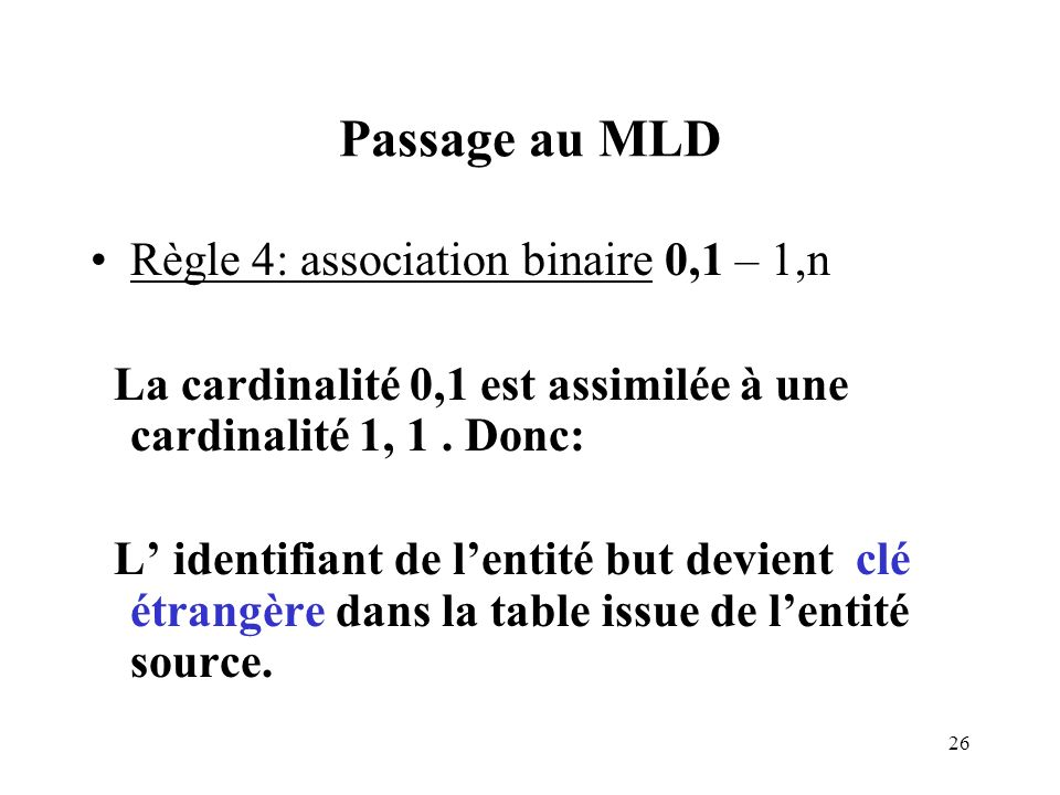 Passage au MLD Règle 4: association binaire 0,1 – 1,n