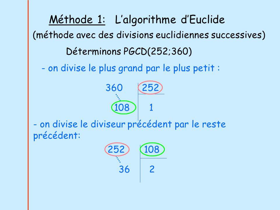 Méthode 1: L'algorithme d'Euclide