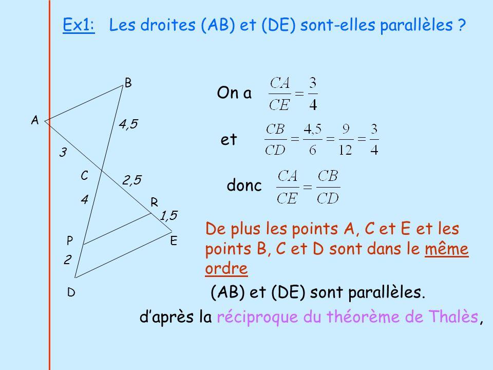 Ex1: Les droites (AB) et (DE) sont-elles parallèles