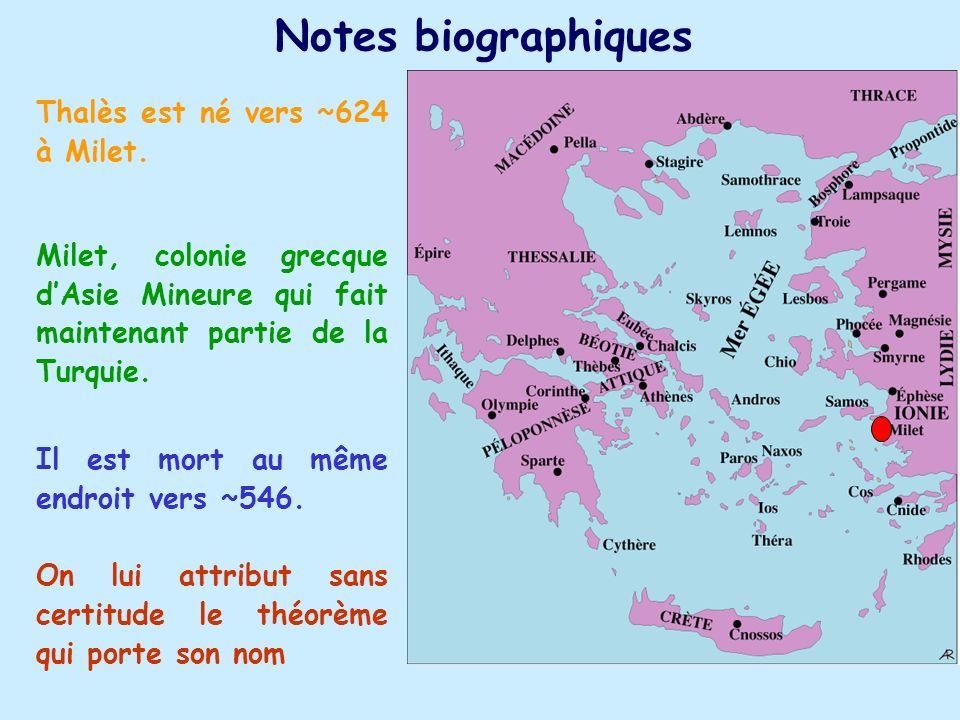 Notes biographiques Thalès est né vers ~624 à Milet.