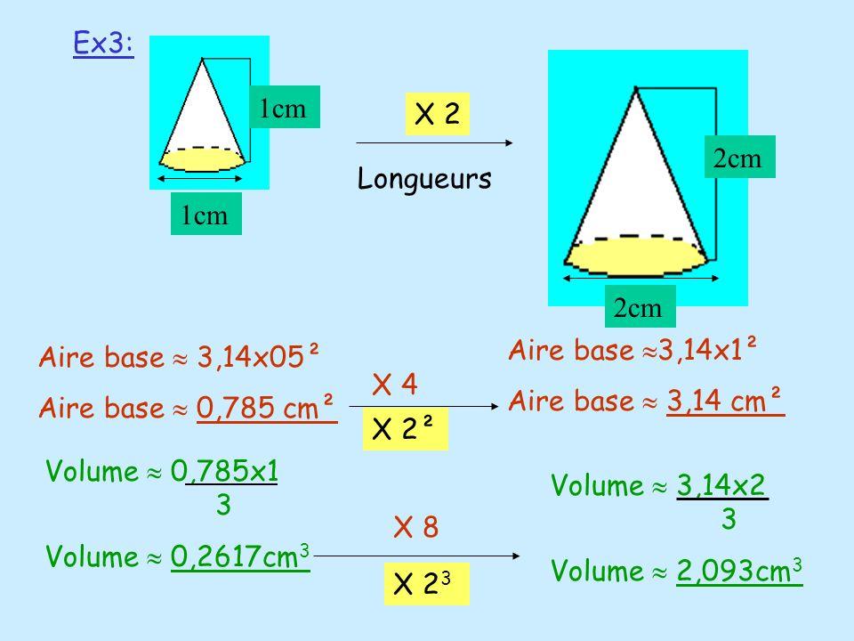 Ex3:1cm. 2cm. X 2. Longueurs. Aire base 3,14x1². Aire base  3,14 cm². Aire base  3,14x05². Aire base  0,785 cm².
