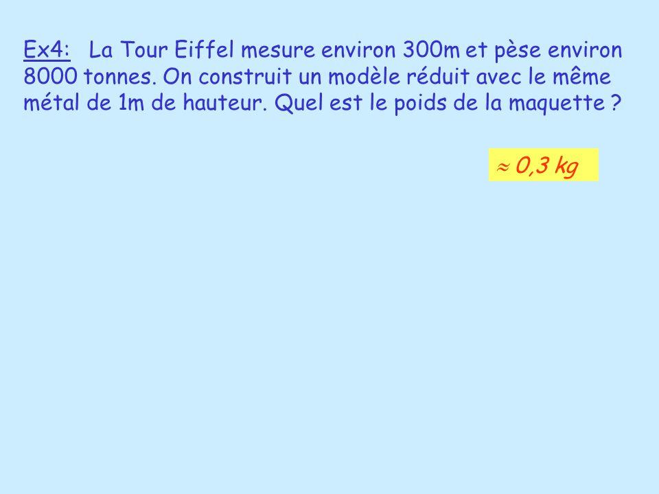Ex4: La Tour Eiffel mesure environ 300m et pèse environ 8000 tonnes