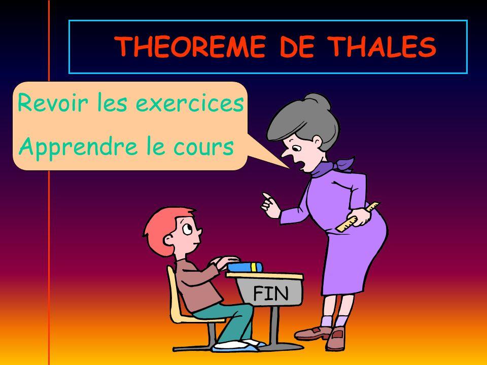 THEOREME DE THALES Revoir les exercices Apprendre le cours FIN