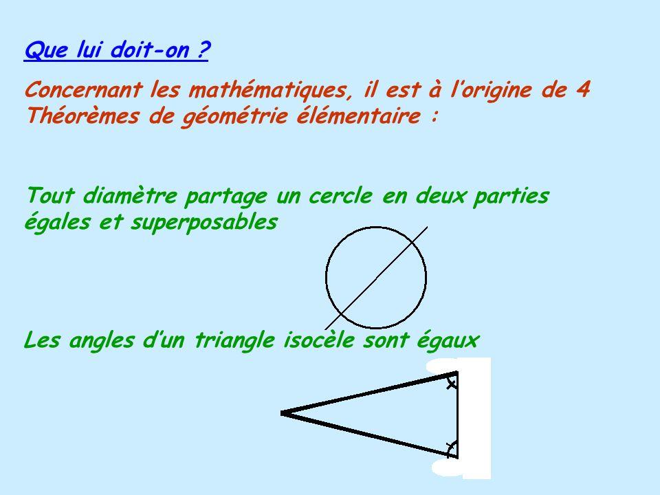 Que lui doit-on Concernant les mathématiques, il est à l'origine de 4 Théorèmes de géométrie élémentaire :