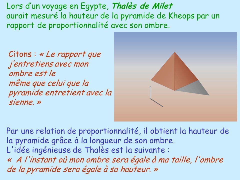 Lors d'un voyage en Egypte, Thalès de Milet