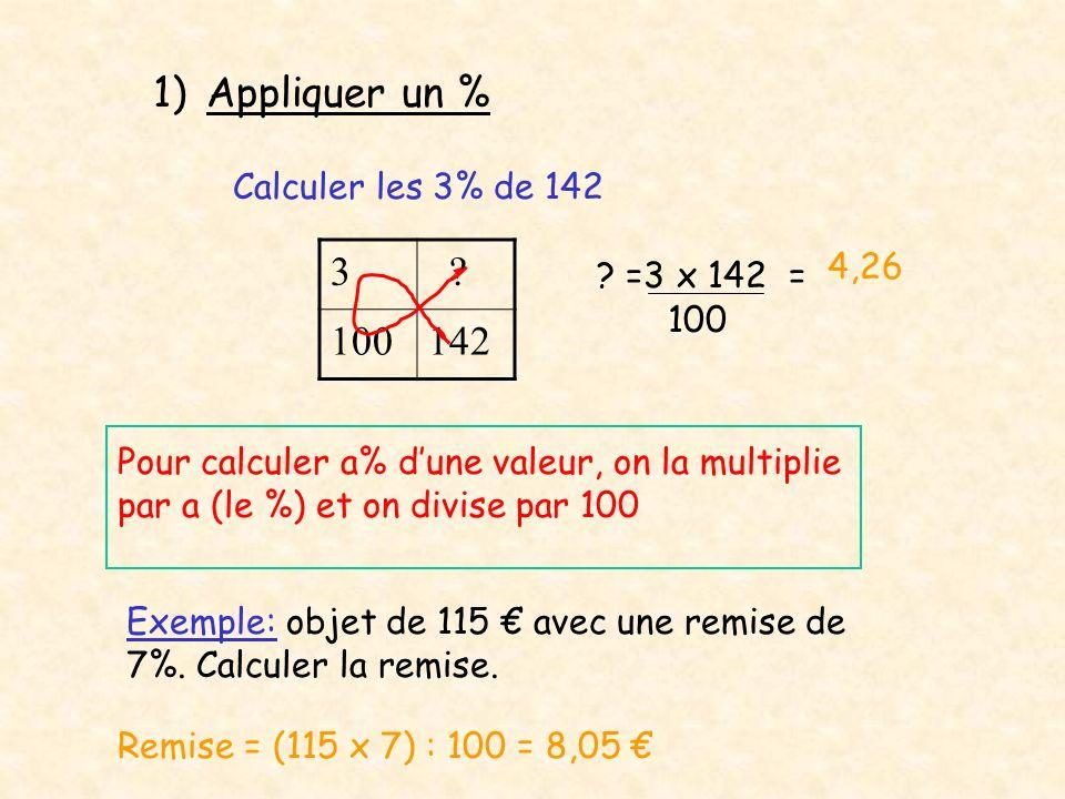 Appliquer un % 3 100 142 Calculer les 3% de 142 4,26 =3 x 142 =