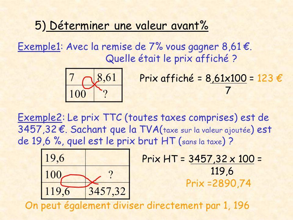 5) Déterminer une valeur avant% 7 8,61 100