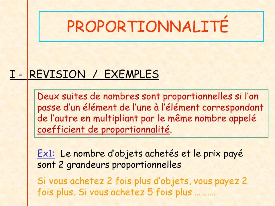 PROPORTIONNALITÉ I - REVISION / EXEMPLES