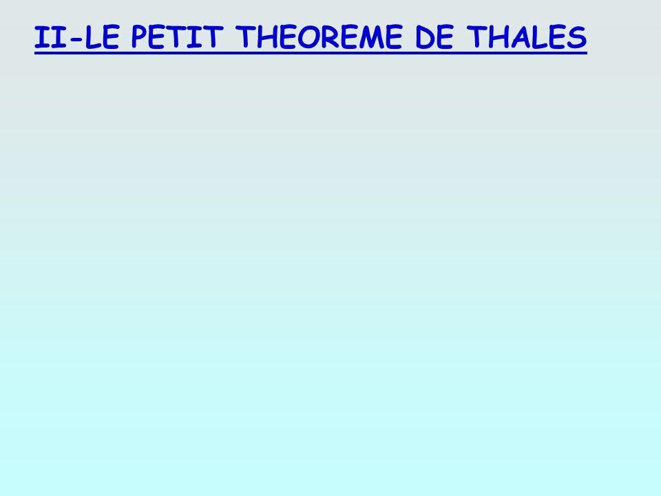 II-LE PETIT THEOREME DE THALES