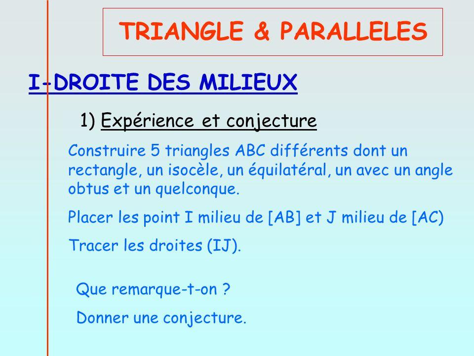 TRIANGLE & PARALLELES I-DROITE DES MILIEUX 1) Expérience et conjecture
