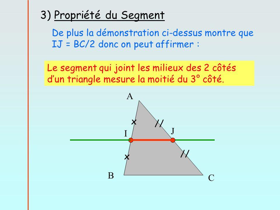 3) Propriété du Segment De plus la démonstration ci-dessus montre que IJ = BC/2 donc on peut affirmer :