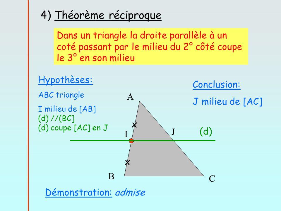 4) Théorème réciproque Dans un triangle la droite parallèle à un coté passant par le milieu du 2° côté coupe le 3° en son milieu.