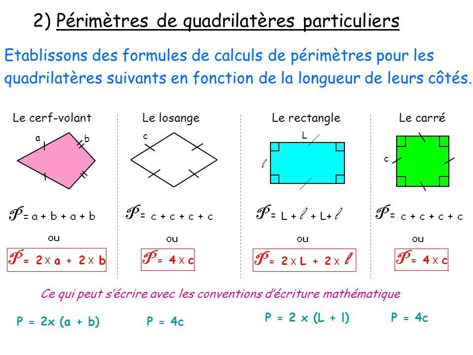 2) Périmètres de quadrilatères particuliers