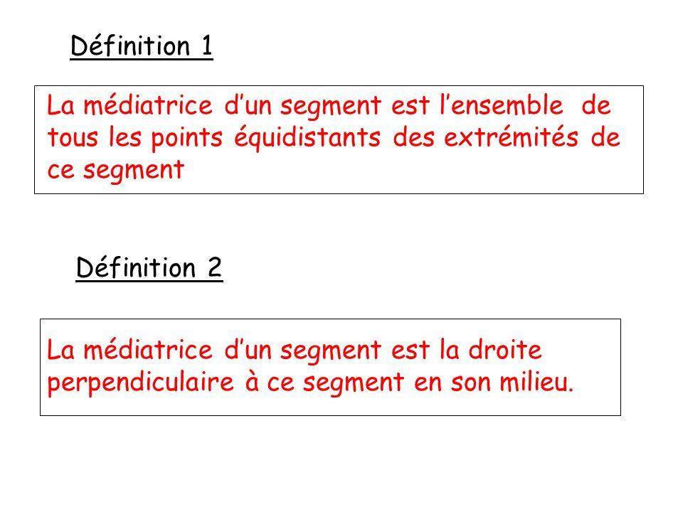 Définition 1 La médiatrice d'un segment est l'ensemble de tous les points équidistants des extrémités de ce segment.