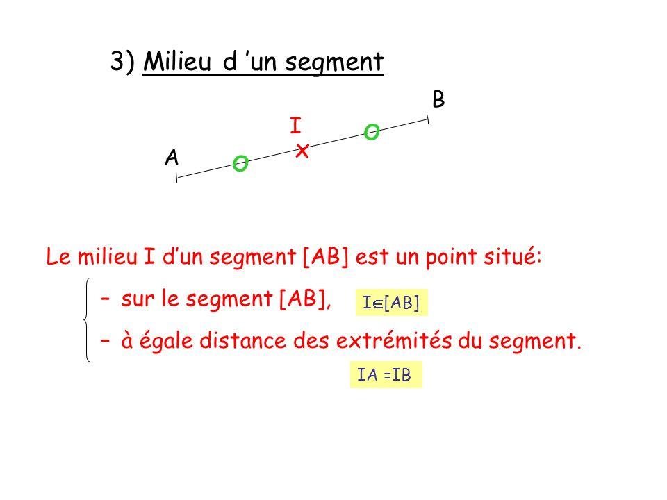 3) Milieu d 'un segment о о x B I A