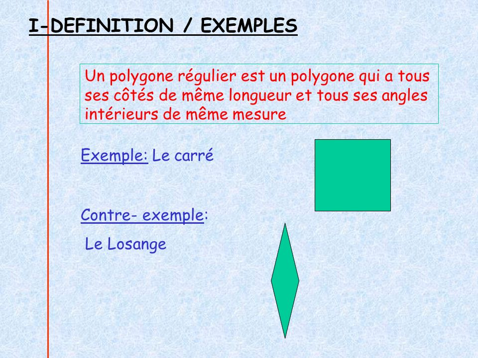 I-DEFINITION / EXEMPLES