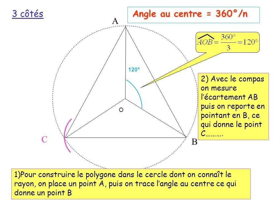 3 côtés Angle au centre = 360°/n A C B