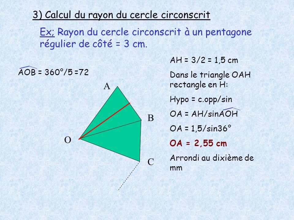 3) Calcul du rayon du cercle circonscrit