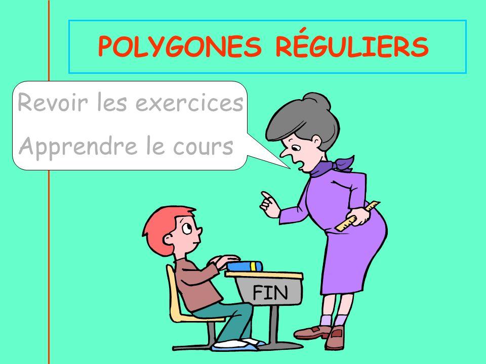 POLYGONES RÉGULIERS Revoir les exercices Apprendre le cours FIN