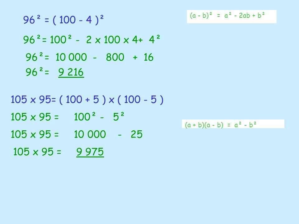 (a - b)² = a² - 2ab + b²96² = ( 100 - 4 )². 96²= 100² - 2 x 100 x 4+ 4². 96²= 10 000 - 800 + 16.