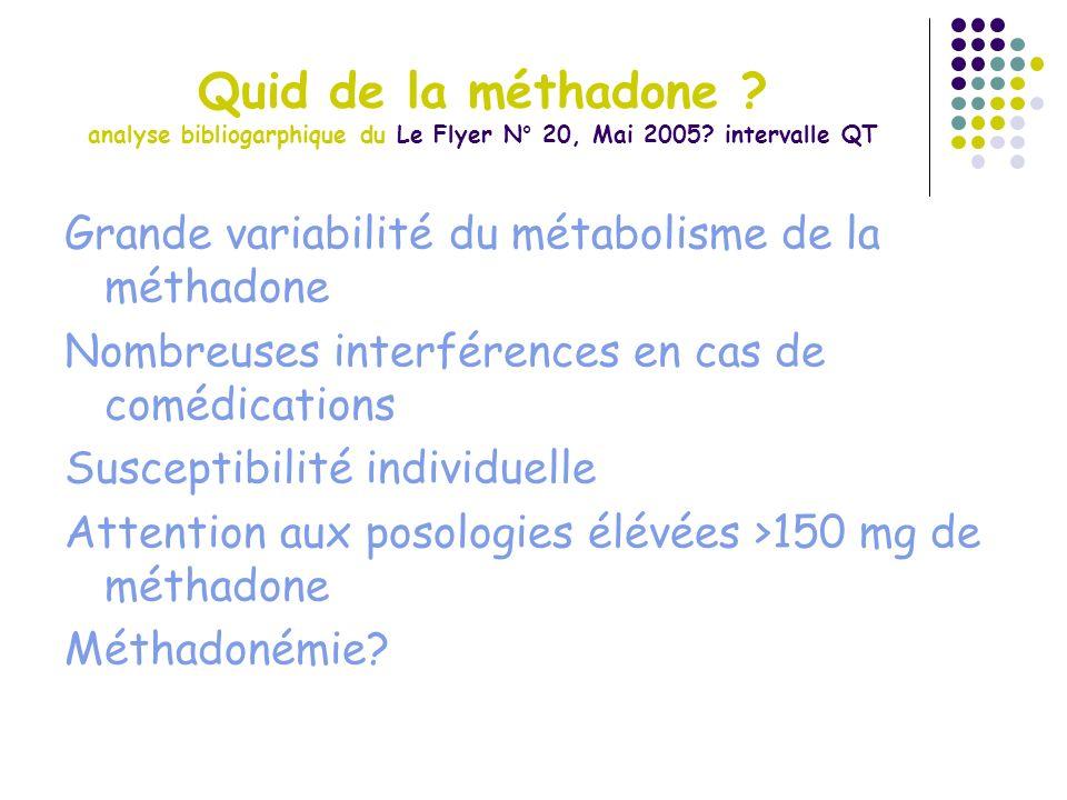 Quid de la méthadone analyse bibliogarphique du Le Flyer N° 20, Mai 2005 intervalle QT