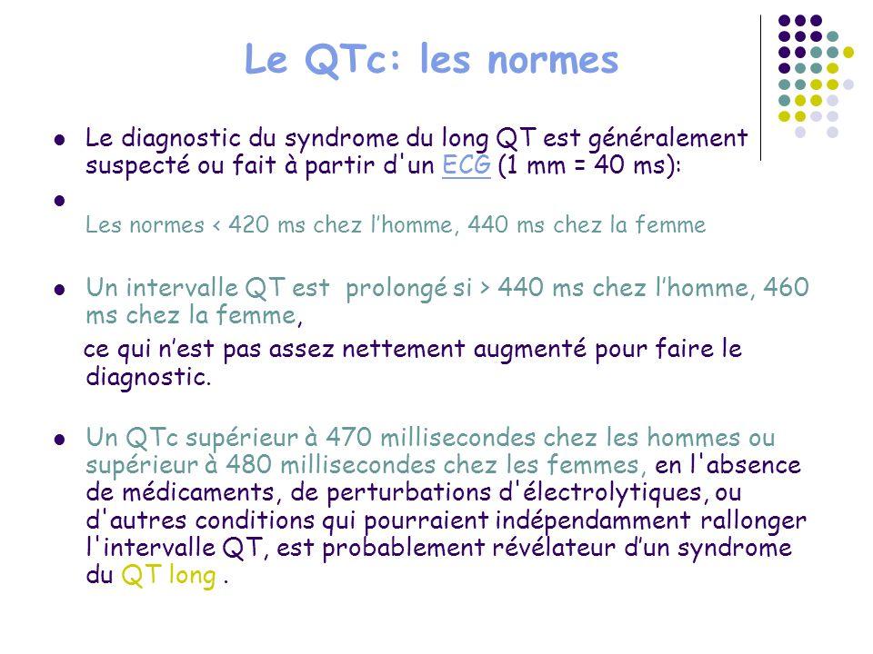 Le QTc: les normes Le diagnostic du syndrome du long QT est généralement suspecté ou fait à partir d un ECG (1 mm = 40 ms):