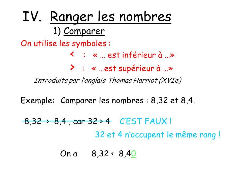 IV. Ranger les nombres < : « … est inférieur à …»