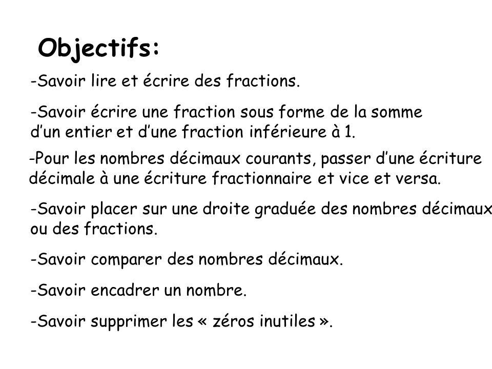 Objectifs: Savoir lire et écrire des fractions.