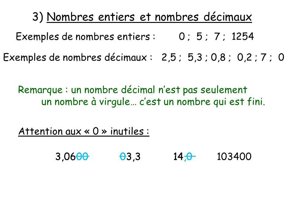 3) Nombres entiers et nombres décimaux