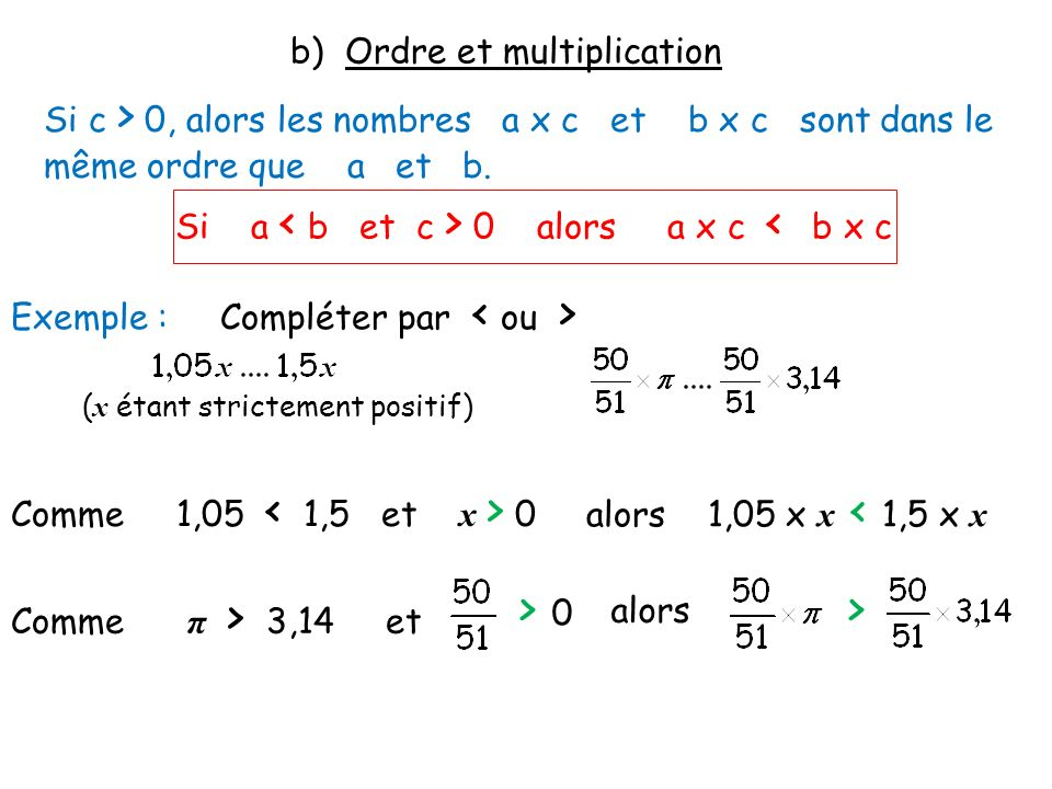 b) Ordre et multiplication