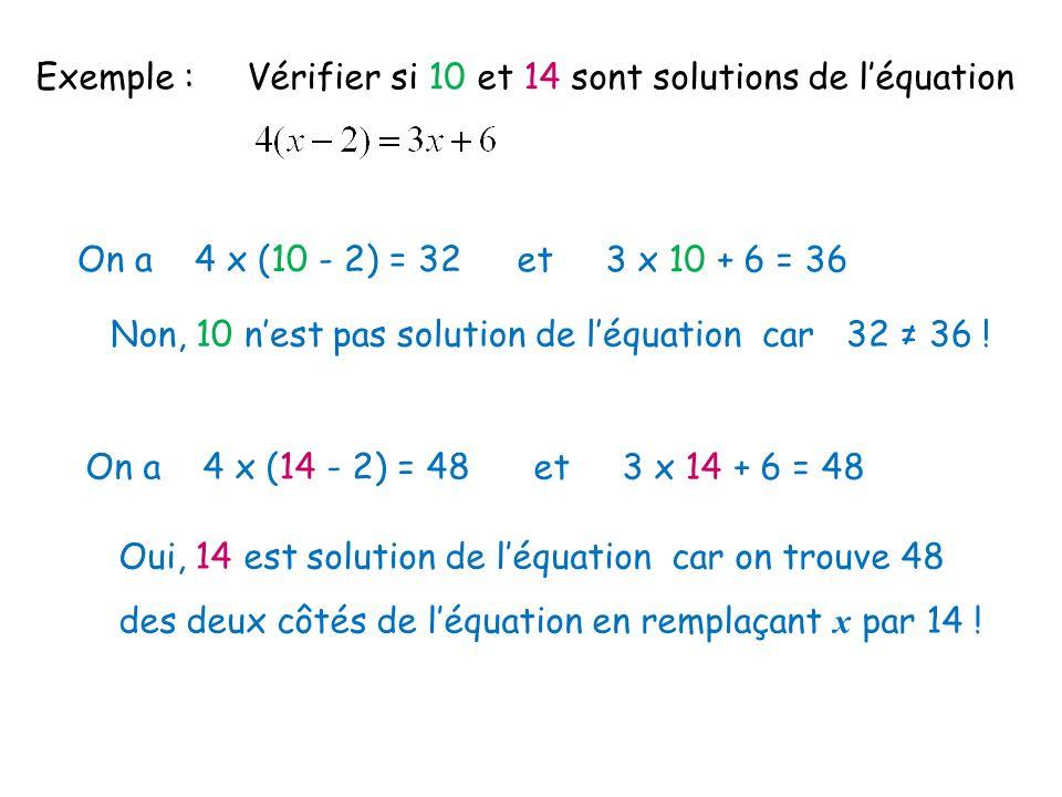 Exemple : Vérifier si 10 et 14 sont solutions de l'équation